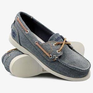 TIMBERLAND Denim Canvas Boat Shoes sz 10 Women's